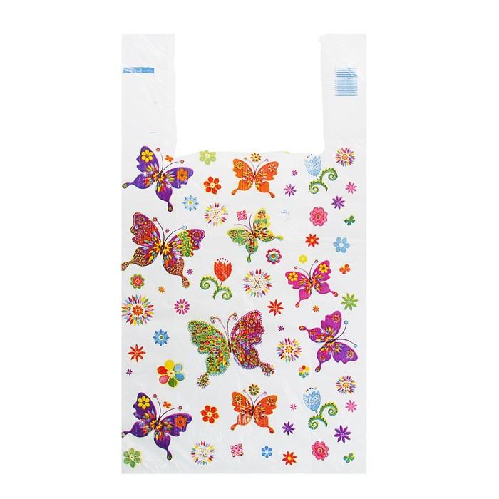 """Пакет """"Бабочки"""", полиэтиленовый, майка, 28 х 50 см, 12 мкм - фото 308983349"""