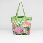 Сумка пляжная  073-475, 45*3*40, цветок и паетки/фон зеленый