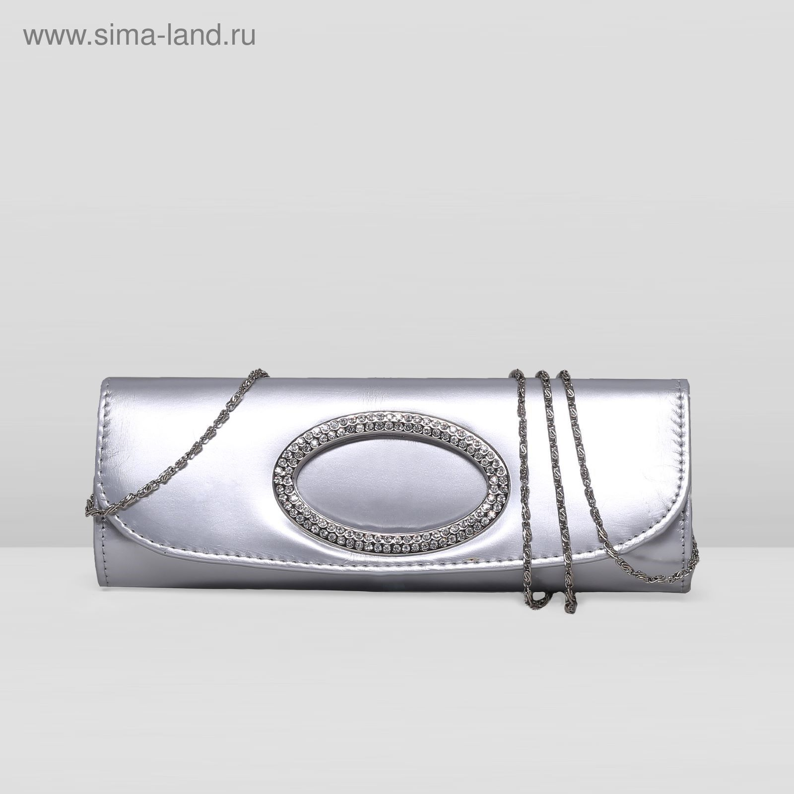 636b125cf9a1 Клатч женский на клапане, 1 отдел, цепочка, цвет серебряный (2189436 ...