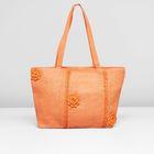 Сумка пляжная 112-132, 35*5*30, плетеная, большие розы, оранжевый