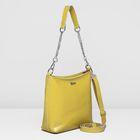 Сумка женская на молнии, отдел с перегородкой, наружный карман, длинный ремень, цвет жёлтый