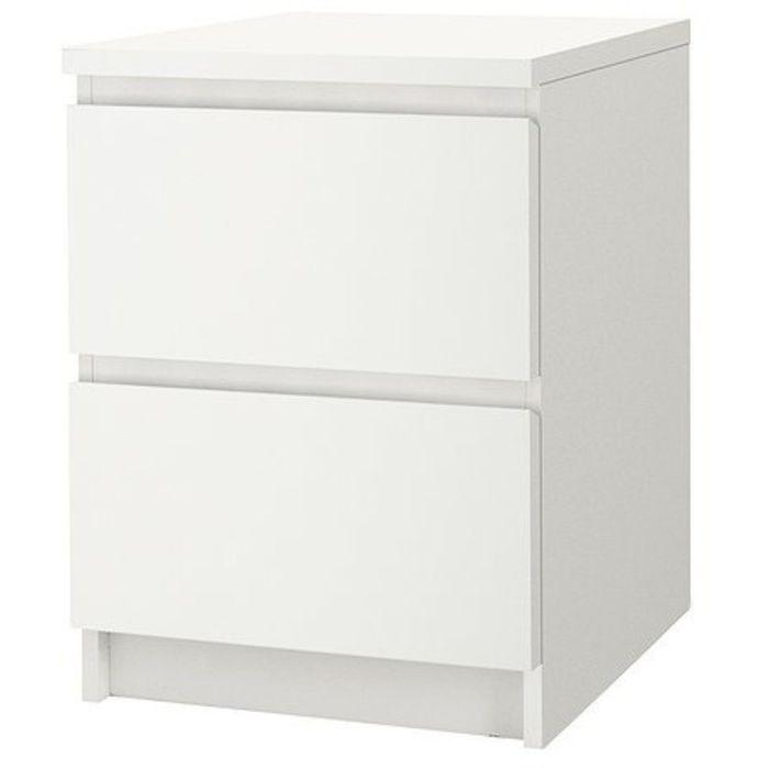 Прикроватная тумба МАЛЬМ, 2 ящика, цвет белый