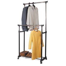 Стойка для одежды двойная, на колёсиках