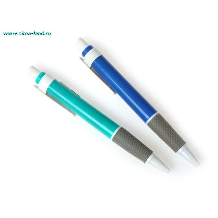 Ручка шариковая автоматическая с резиновым держателем МИКС стержень синий