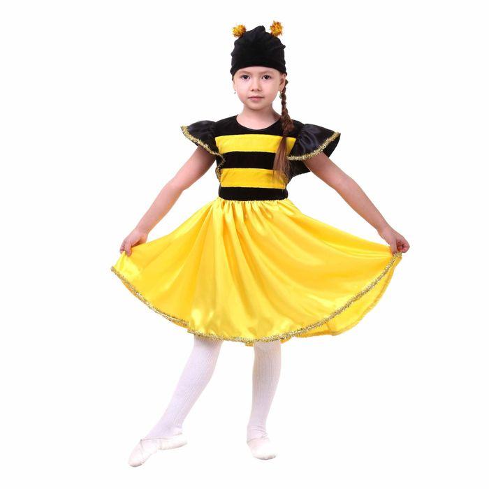 """Карнавальный костюм """"Пчёлка"""", платье, шапка, атлас, плюш, р-р 32, рост 122-128 см - фото 453688"""