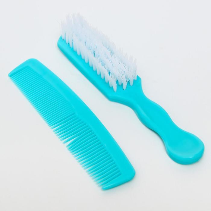 Расчёска детская + массажная щётка для волос, от 0 мес., цвета МИКС
