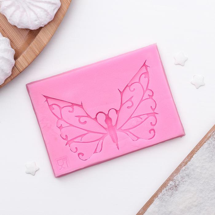 Коврик для айсинга «Бабочка», 8,6×6×0,7 см, цвет розовый