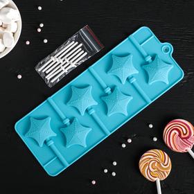 Форма для леденцов и мороженого «Звездочёт», 9,5×24×1 см, 6 ячеек (4,2×3,8 см), цвет МИКС