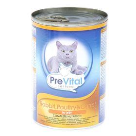 Влажный корм PreVital для кошек, кусочки в желе с крол., дом. птицей и морковью, ж/б, 415 г.  225945
