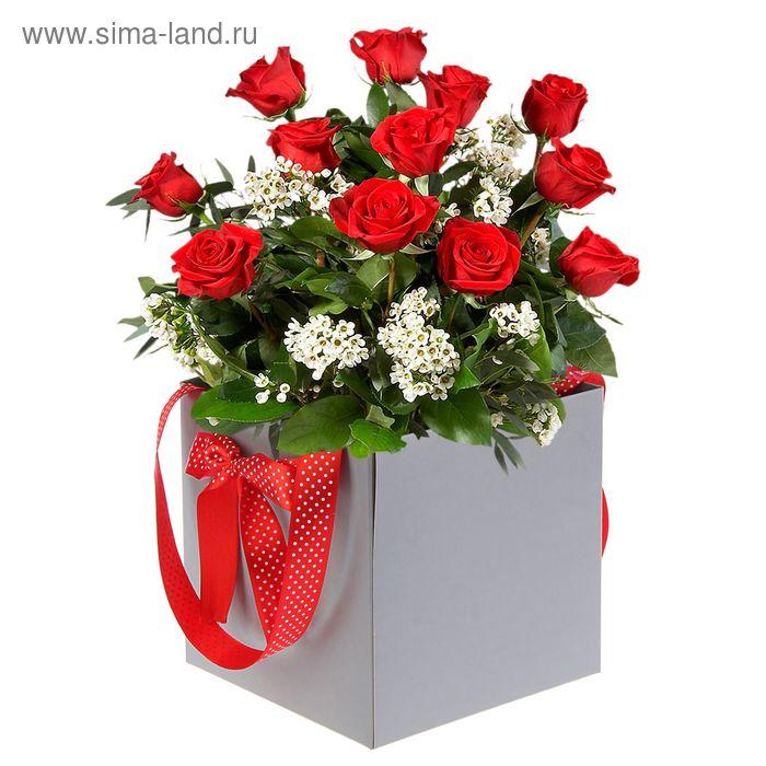 Коробка-ваза для цветов с пластиковой вставкой, 22 х 22 х 22 см, дымчатый