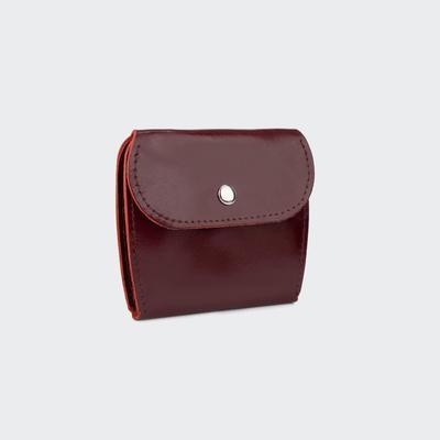 Портмоне-монетница, на кнопке, цвет бордовый гладкий