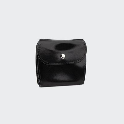Портмоне-монетница, на кнопке, цвет чёрный гладкий