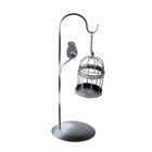 """Подсвечник металл 1 свеча """"Подвесная клетка с птицей"""" чёрный 26х9х9 см"""