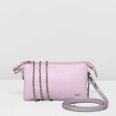 Клатч женский на молнии, 1 отдел, длинный ремень, цвет розовый