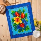 Полотенце вафельное Цветы, размер 45х60 см, цвет синий микс, 160 гр/м