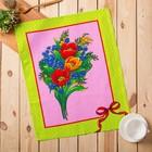 Полотенце вафельное Цветы, размер 45х60 см, цвет зеленый микс, 160 гр/м