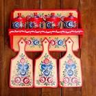 Полка с набором для специй+3 разделочных доски, городецкая роспись