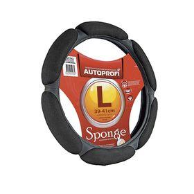"""Оплётка руля AUTOPROFI SP-5026 BK (L), алькантара, 6 """"подушек"""", наполнитель поролон с памятью 2 см, цвет чёрный"""