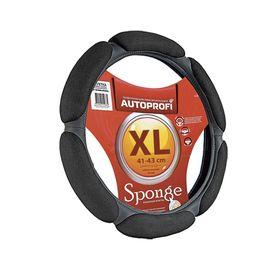 """Оплётка руля AUTOPROFI SP-5026 BK (XL), алькантара, 6 """"подушек"""", наполнитель поролон с памятью 2 см, цвет чёрный"""