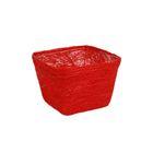 Кашпо, сизаль, квадрат, ярко-красная 10 х 14 х 14 см