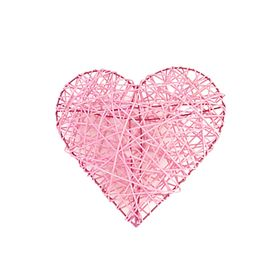 Ротанг, сердце объемное, розовое, 20 х 20 х 6 см