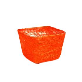 Кашпо, сизаль, квадрат, ярко-оранжевая 10 х 14 х 14 см