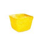 Кашпо, сизаль, квадрат, жёлтая 10 х 14 х 14 см