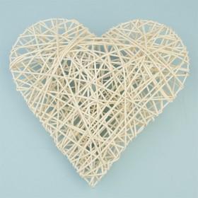 Ротанг, сердце объемное, отбеленное, 20 х 20 х 6 см