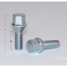 Bolts 12x1,25 mm, length 52/28 mm, turnkey 17mm, cone, zinc, set of 20 PCs.