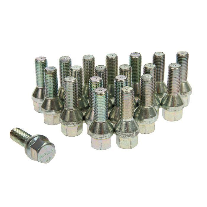 Болты 12x1,5 мм, длина 52/28 мм, под ключ 17 мм, конус, цинк, набор 20 шт.