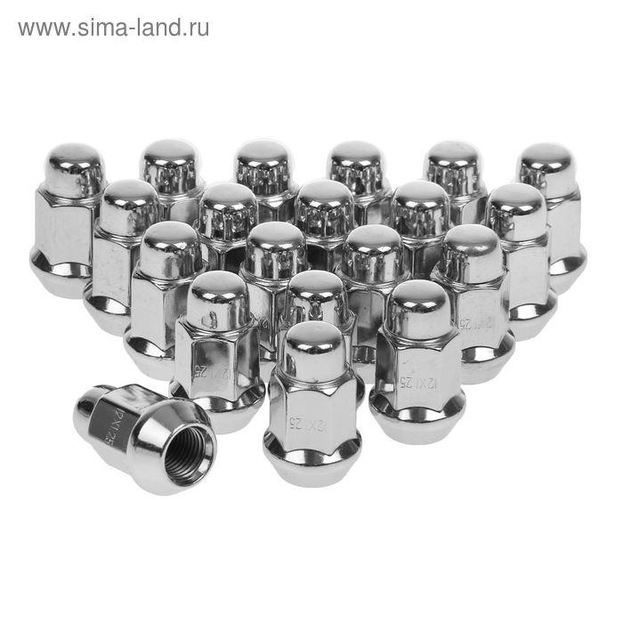 Гайки 12x1,25 мм, высота 35 мм, под ключ 17 мм, конус, закрытые, хром, набор 20 шт.