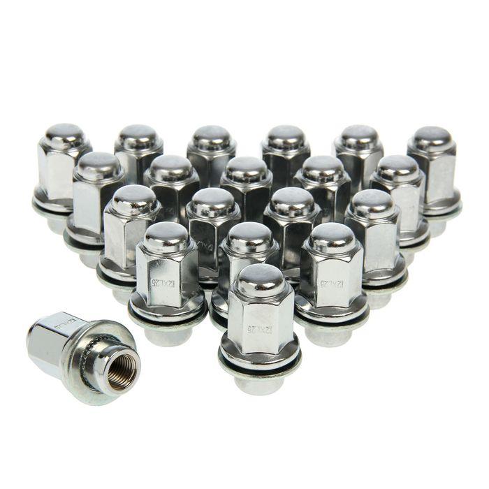 Гайки 12x1,25 мм, высота 47 мм, под ключ 21 мм, прессшайба, закрытые, хром, набор 20 шт.
