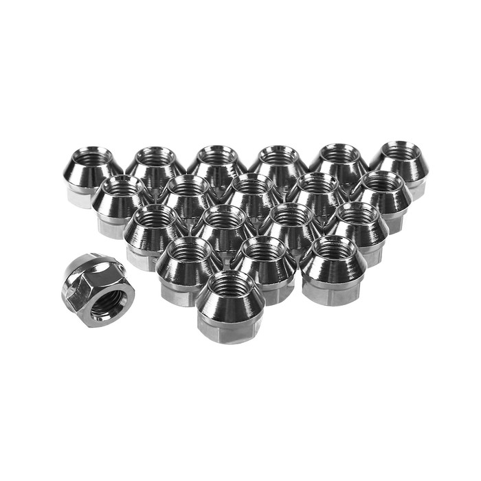 Гайки 12x1,5 мм, высота 17 мм, под ключ 19 мм, конус, открытые, хром, набор 20 шт