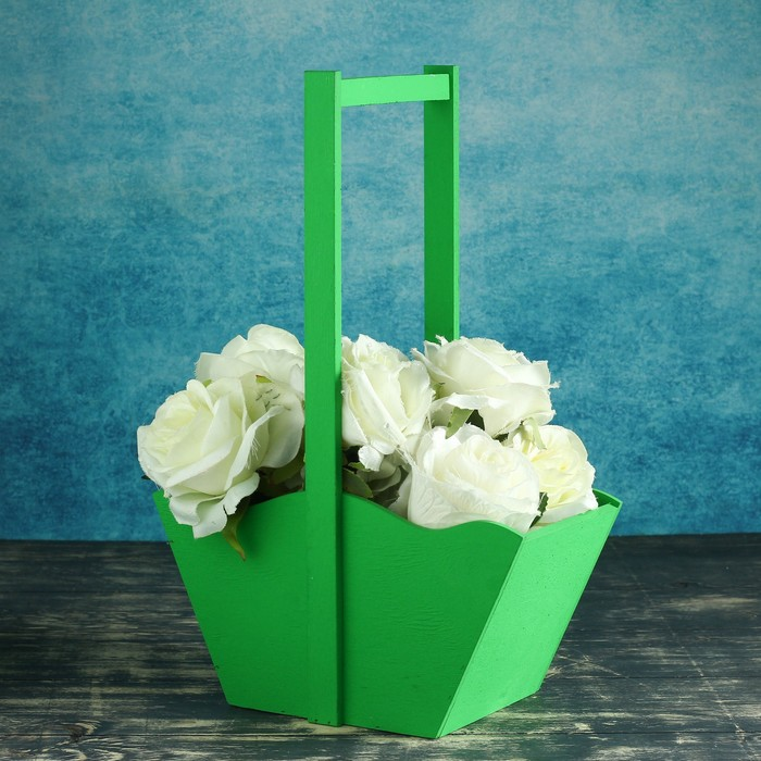 Заготовка ящик-корзинка зеленый 24х12,5х36