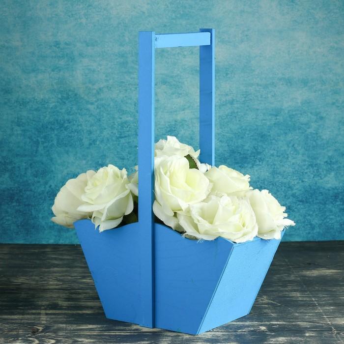 Заготовка ящик-корзинка голубой 24х12,5х36
