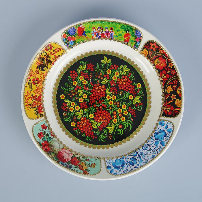 "Тарелка декоративная ""Русские мотивы. Хохлома"", настенная, d=20 см, ручная работа"