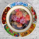 """Тарелка декоративная """"Жостово. Пышные цветы"""", настенная, d=20 см, ручная работа"""