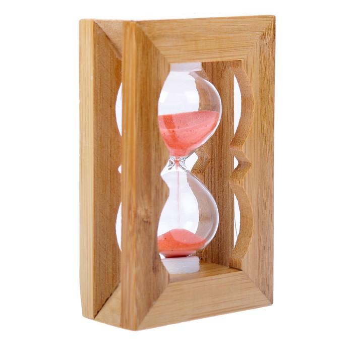 Часы песочные, рамка прямоугольная, резная, светлое дерево, микс