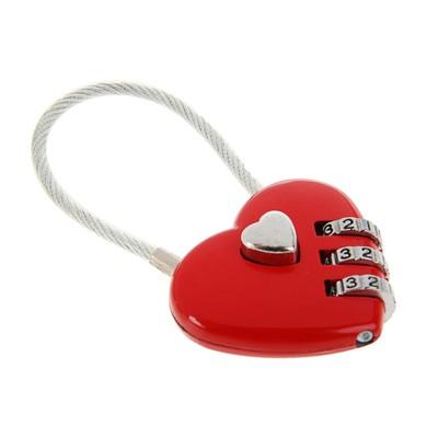 """Замок навесной кодовый, """"Сердце"""", красный"""