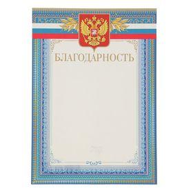 Благодарность 'Синяя рамка' герб и флаг России 210х297 Ош
