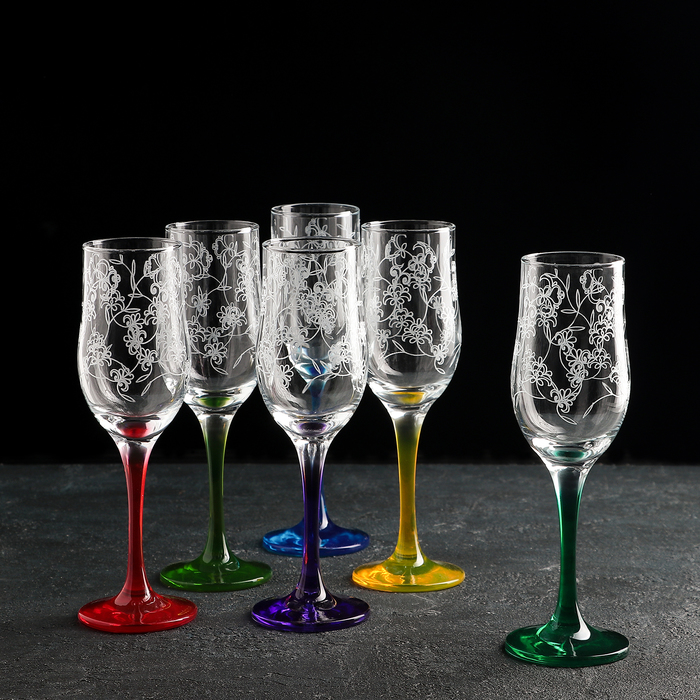 Набор бокалов разноцветных для шампанского 200 мл Рrimavera, 6 шт, гравировка, напыление
