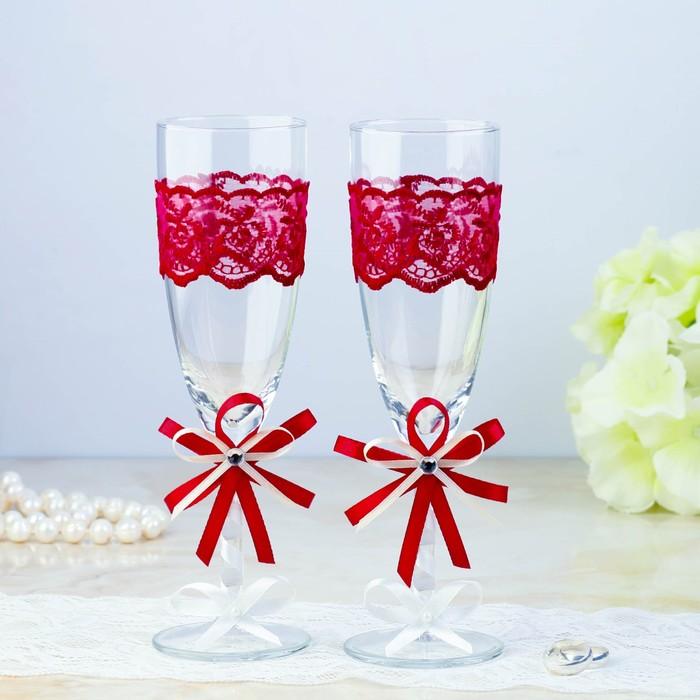 Набор свадебных бокалов для битья «Элит», 2 шт., бордо