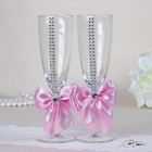 "Set wedding glasses ""Elite"", with bowknot and rhinestone, pink"