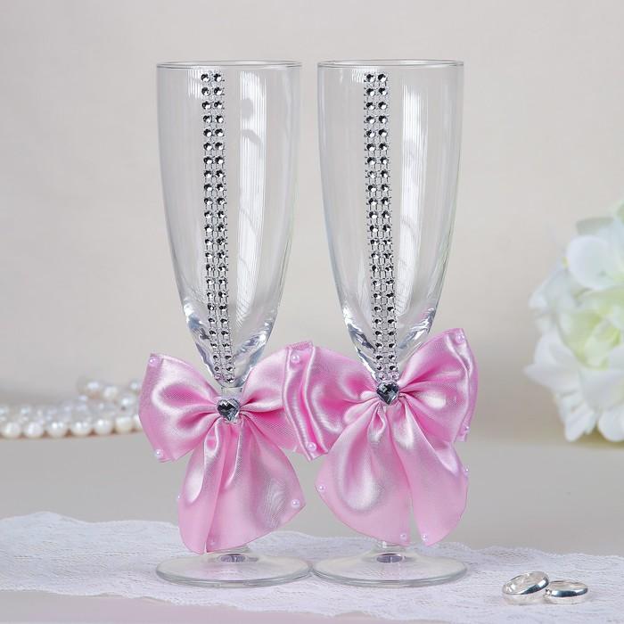 Набор свадебных бокалов для битья «Элит» с бантом и стразами, 2 шт., розовый