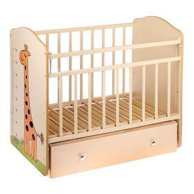 Детская кроватка «Морозко. Жираф» с ростомером, на маятнике, с ящиком, цвет бежевый/слоновая кость