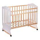 Детская кроватка «Чудо» на колёсах или качалке, цвет белый/берёза - фото 1703675