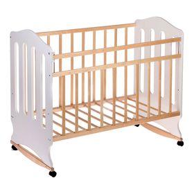 Детская кроватка «Чудо» на колёсах или качалке, цвет белый/берёза