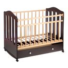 Детская кроватка «Чудо» на колёсах или качалке, с ящиком, цвет венге/берёза