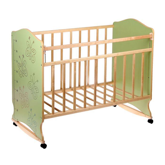 Детская кроватка «Морозко. Бабочки» с ростомером, на колёсах или качалке, цвет зелёный