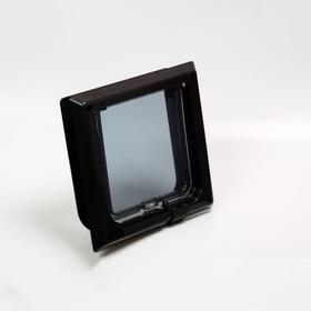 Дверца для кошек «БАРСИК», проём 145*145 мм, толщина двери 36-42 мм, чёрный